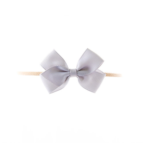 Small London Bow Soft Hairband - Shell Grey