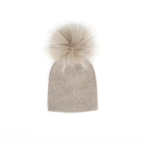 *Exclusive* Angora Single Pom Child Hat - 2 years to 5 years Fawn