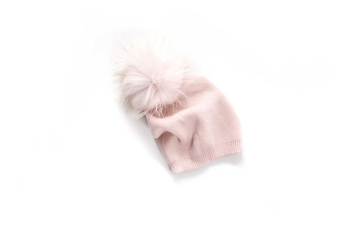 Light Pink Single Pom Slouchy Child and Adult Hat - 18 months to adult