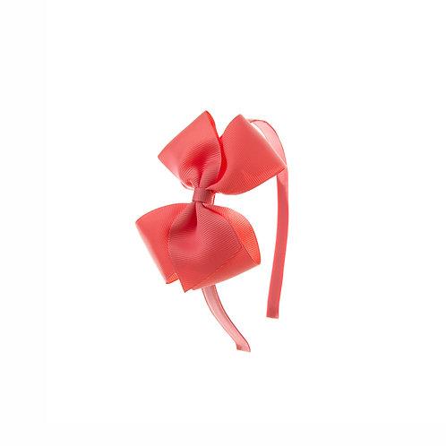 Medium London Bow Hairband - Coral Rose