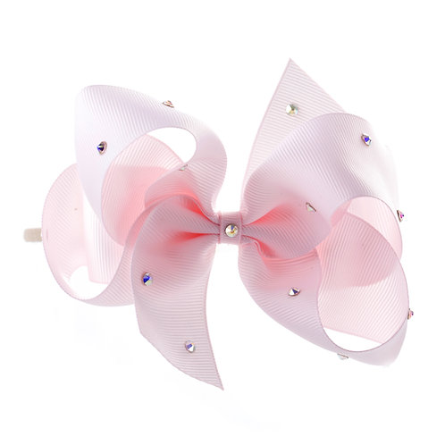 Large Classic Bow Soft Hairband - Powder Pink with Swarovski Cry