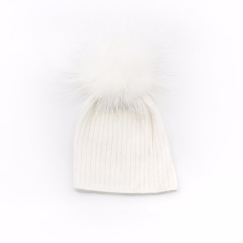 Angora Lightweight Single Pom Hat Winter White - Child to Big Kids