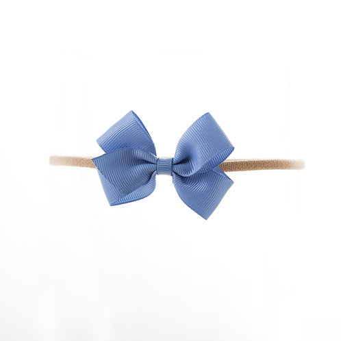 Small London Bow Soft Hairband - French Blue