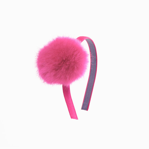 Pom Pom Hairband - Hot Pink
