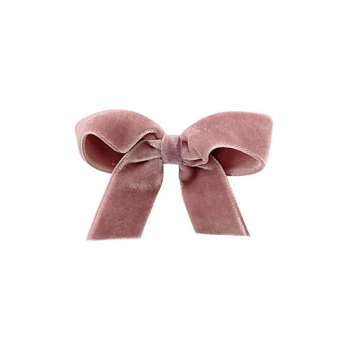 Medium Velvet Bow - Rosy Mauve