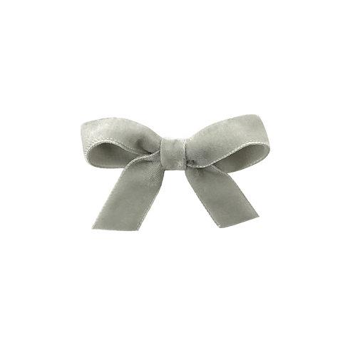Small Velvet Bow - Silver