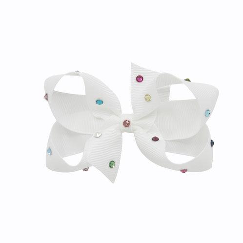 Medium Bow - White Multicolored Crystals