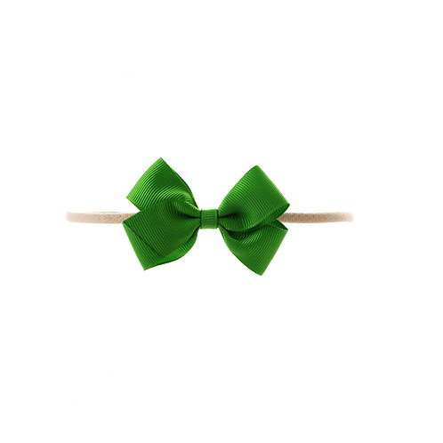 Small London Bow Soft Hairband - Classic Green
