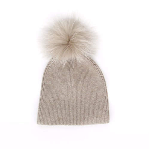 *Exclusive* Angora Single Pom Hat - Fawn - 6 year to Adult
