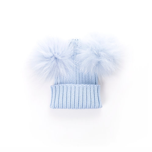 Merino Wool Double Pom Baby Hat - blue - baby to 18 months