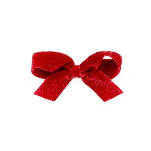 Medium Velvet Bow - Scarlet