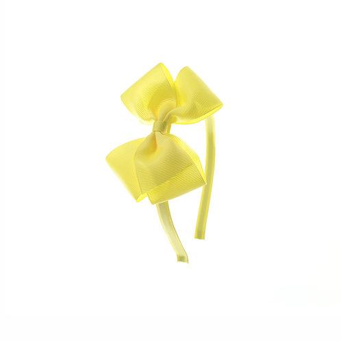 Medium London Bow Hairband - Lemon