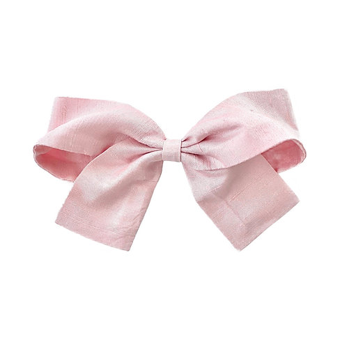 Medium Paris Bow - Pearl Pink  Silk Taffeta