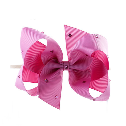 Large Classic Bow Soft Hairband - Wild Rose with Swarovski Cry