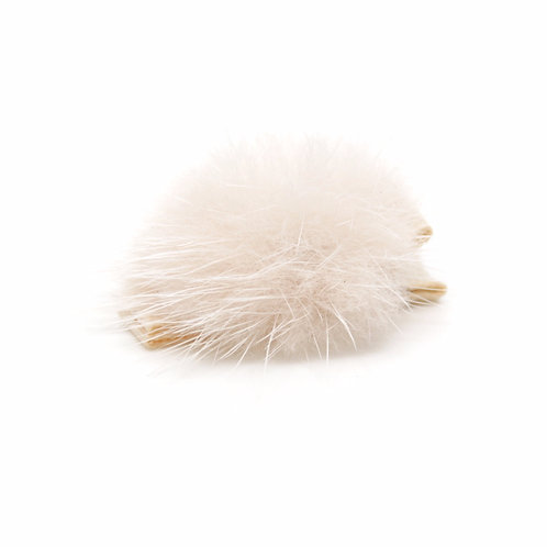 Small Mink Puff Hair Clip - Nude