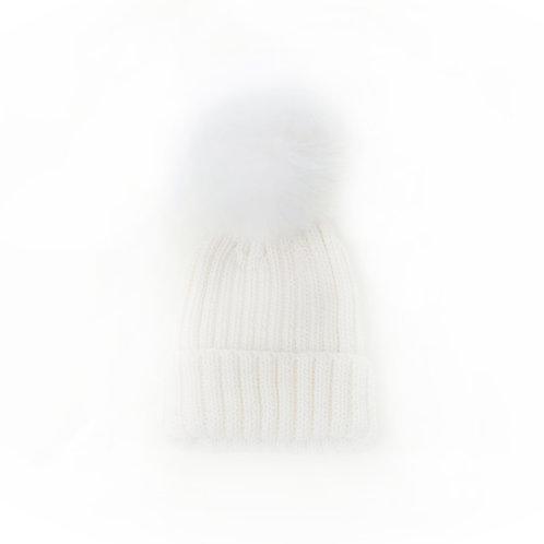 Merino Wool Single Pom Baby Hat - Ivory - baby to 18 months
