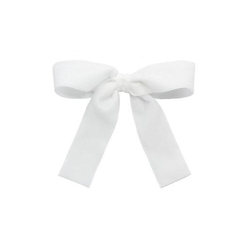Large Velvet Bow - Winter White