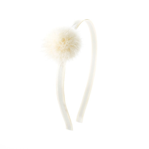 Large Mink Puff Hairband - Ivory