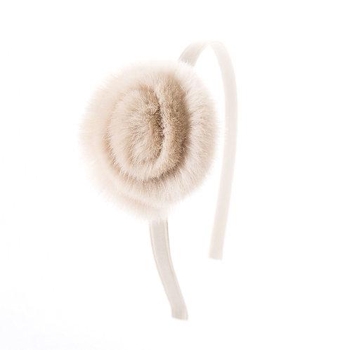 Swirl Flower Headband - Light Oatmeal
