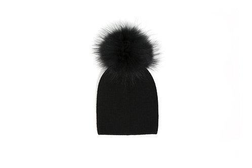 Angora Single Pom Hat - Baby to 2 years - Black