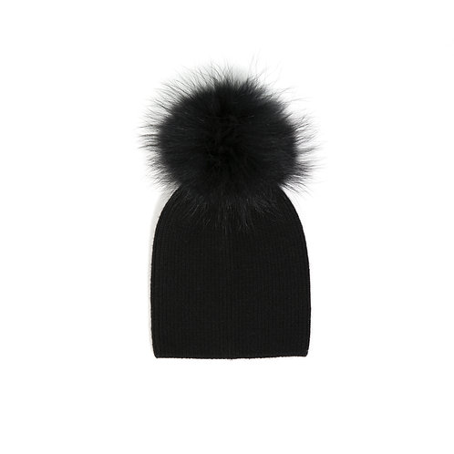 Angora Single Pom Hat - Baby to 2 years - Black