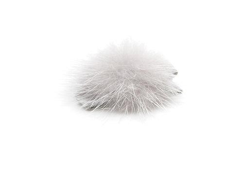 Small Mink Puff Hair Clip - Light Grey