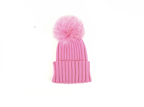 Merino Wool Single Pom Baby Hat - Rose Pink - baby to 18 months