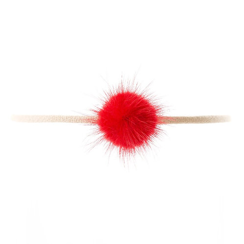 Mink Puff Soft Hairband - Red
