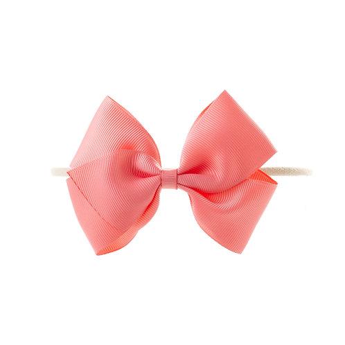 Medium London Bow Soft Hairband - Coral Rose