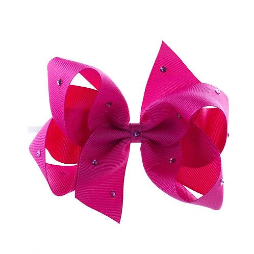 Large Classic Bow Soft Headband - Azalea with Swarovski Cry