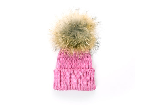 Merino Wool Single Racoon Pom Baby Hat - Rose Pink - baby to 18 mth FINAL SALE