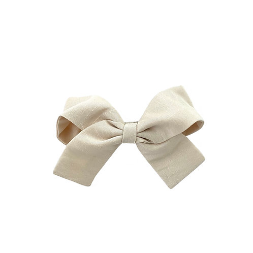 Small Paris Bow - Ivory  Silk Taffeta