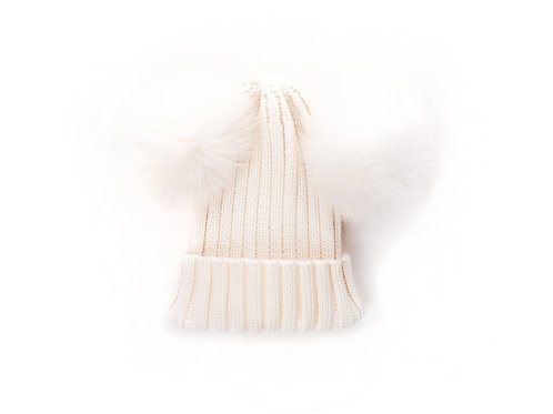 Merino Wool Double Pom Child and Adult Hat - ivory - 2 years to adult