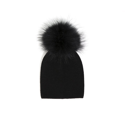 Angora Single Pom Child Hat - 2 years to 5 years Black