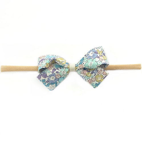 Small Paris Liberty Bow Soft Hairband - Michelle Blue