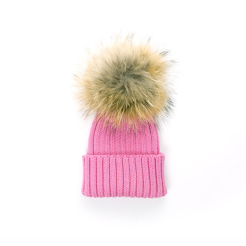 Merino Wool Single Racoon Pom Baby Hat - Rose Pink - baby to 18 months