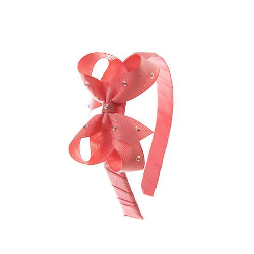 Bow Hairband - Coral Rose