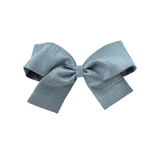 Medium Paris Bow - Slate Silk Taffeta