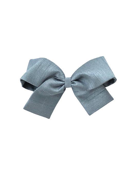 Medium Paris Bow - Slate Silk Taffeta