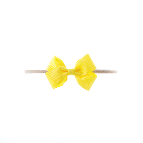 Small London Bow Soft Hairband - Lemon
