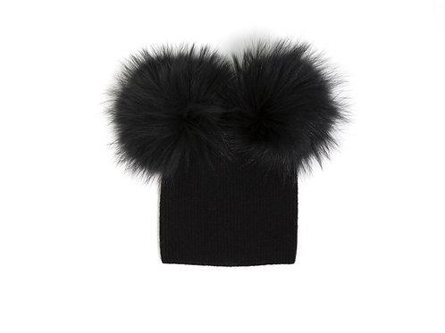 Angora Double Pom Hat - Baby to 2 yr Black FINAL SALE