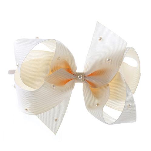 Large Classic Bow Soft Hairband - Ivory with Swarovski Cry