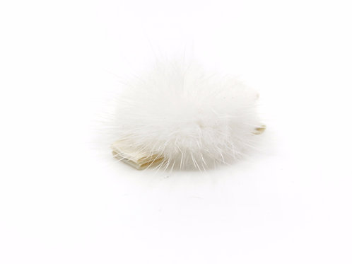 Small Mink Puff Hair Clip - Ivory