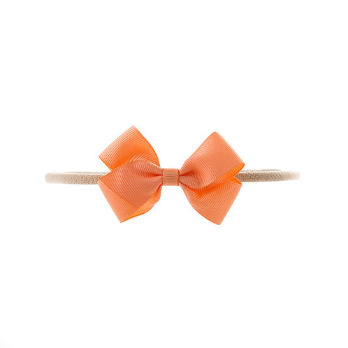 Small London Bow Soft Hairband - Peach