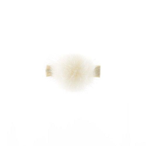 Medium Mink Puff Clip - Ivory