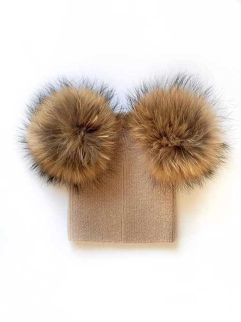 Angora of Double Pom Child Hat - 2 years to 5 years Chestnut
