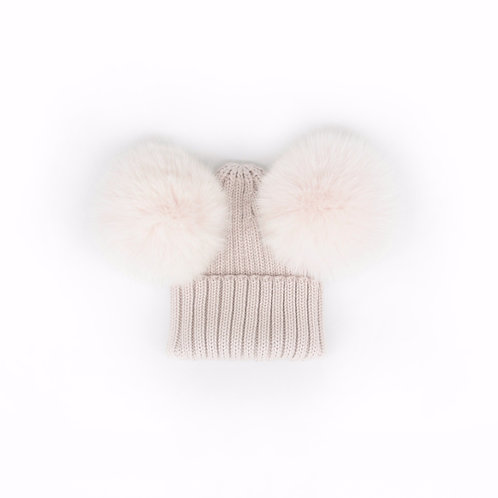 *EXCLUSIVE* Merino Wool Double Pom Baby Hat - Stone - baby to 18 months