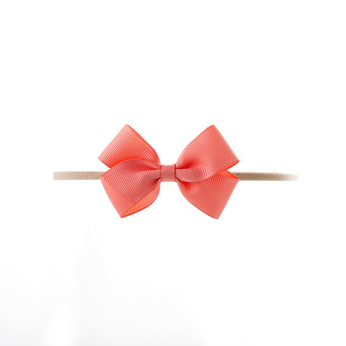 Small London Bow Soft Hairband - Light Coral