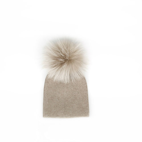 *Exclusive* Angora Single Pom Hat - Baby to 2 years Fawn
