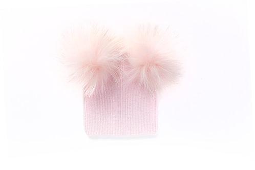 Angora Double Pom Child Hat - 2 years to 5 years Pink